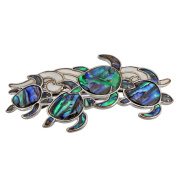 Storrs Wild Pearle Handmade Abalone Shell Hair Barrette Silver Plated Sea Turtles HB8599220