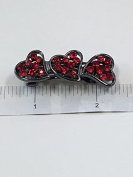 Crystal with Black Metal Three Little Heart Barrette 6 Colour 12 Pieces