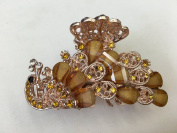 Gorgeous Vintage Jewellery Crystal Rhinestone Peacock Design Fashion Hair Claw Clips Hair Jaws Hair Jaw Clips - Large Size - Amber Colour -For Hair Beauty Tools