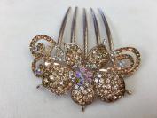 Gorgeous Rosegold-tone Hair Jewellery Flowers Pattern Crystal Rhinestone Hair Pin Hair Barrette Hair Clips Hair Clip Comb -Medium - Crystal Amber Colour