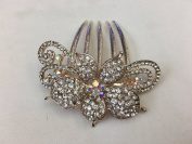 Gorgeous Rosegold-tone Hair Jewellery Flowers Pattern Crystal Rhinestone Hair Pin Hair Barrette Hair Clips Hair Clip Comb -Medium - Clear Crystal Colour