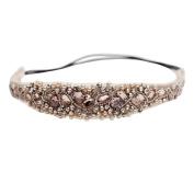 Sanwood Handmade Rhinestone Crystal Bohemia . Crystal Beaded Elastic Fashion Headband