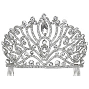 Oversized Crystal Drop Accent Rhinestone Pageant Tiara Crown Silver Tone Clear
