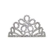 Small Floral Crystal Rhinestone Prom Wedding Tiara Comb Silver Tone