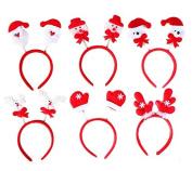 Healthcom 6 Pcs Cute Christmas Santa Claus Snowman Deer Antlers Headband Hairband