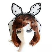 Healthcom Bunny Cat Bendable Ears Headband w/ Lace Mask Party Lingerie Fancy Lace Cat Mask