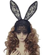 Healthcom Bunny Rabbit Ears Mask Hairband Venetian Filigree Lace Veil Costume Masquerade Mask headband Headwrap Halloween Party