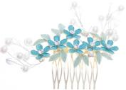Women Enamel Flower Shape Metal Rhinestone Crystal Hair Clip Comb