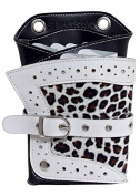 Kissaki Snow Leopard Style Genuine Leather Hair Scissors Holster Hairstylists Cosmetologist Tool Pouch