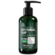 Antifungal Soap with Tea Tree Oil & Active Ingredients Help Treat & Wash Away Athletes Foot, Nail Fungus, Jock Itch, Ringworm, Body Odour & Acne. Antibacterial Defence Against Fungal Irritations - 240ml