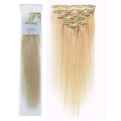 Emosa Luxury 100% Real Human Hair Clip in Hair Extensions #Platinum Blonde