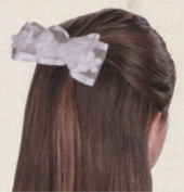 First Holy Communion 10cm White Satin Flower with Pearl Bead Hair Bow Barrette Headpiece