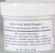 Pure Hyaluronic Acid Serum Powder (High Molecular Weight Sodium Hyaluronate). Popular Anti-Ageing, Anti-Wrinkle Ingredient For Homemade Serums & Other Skin Care Products. 10 grammes