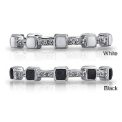 Victoria Kay Sterling Silver Diamond Accent and Black or White Enamel Stackable Ring
