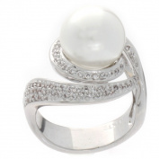 NEXTE Jewellery Silvertone White Faux Pearl and Cubic Zirconia Ring