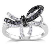 Miadora Sterling Silver 1/3ct TDW Black and White Diamond Bow Ring