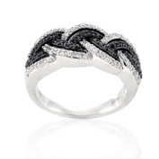 Beverly Hills Charm Silver 1/2ct TDW Black and White Diamond Ring