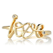 Sterling Silver Goldtone Cubic Zirconia 'Love' Ring