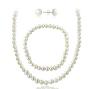 Glitzy Rocks Sterling Silver Genuine Freshwater Cultured Pearl Necklace Bracelet and Stud Earrings Set