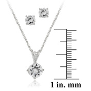 Icz Stonez Sterling Silver Round CZ Solitaire Pendant and Earring Set