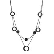 Alexa Starr Black 2-row Ring with Button Station Necklace