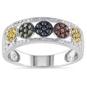 Miadora Sterling Silver 1/2ct TDW Multicoloured Diamond Band-style Ring