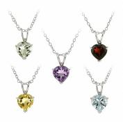 Glitzy Rocks Sterling Silver 6.25 TCW Heart Multi-gemstone Necklace Set