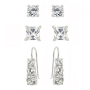 Icz Stonez Sterling Silver Cubic Zirconia 3-piece Earring Set