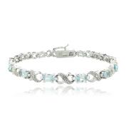 Glitzy Rocks Silvertone Gemstone and Diamond Infinity Bracelet