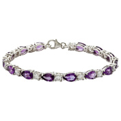 Oravo Sterling Silver Pear-cut Amethyst and Cubic Zirconia Bracelet