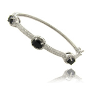 Dolce Giavonna Silverplated Sapphire and Diamond Accent 3-stone Bracelet