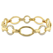 Versace 19.69 Abbigliamento Sportivo 18k Yellow Gold Plated Sterling Silver White Sapphire Circle Link Bracelet