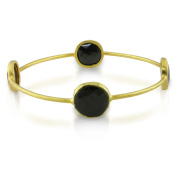M by Miadora 22k Yellow Goldplated Synthetic Onyx Bangle