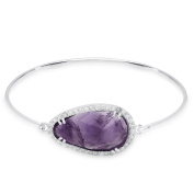 Dolce Giavonna Sterling Silver Pear Gemstone and Cubic Zirconia Bangle