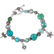 Charming Life Pewter Turquoise and Pearl Bracelet