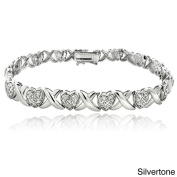DB Designs 1/2ct TDW Diamond X and Heart Link Bracelet