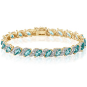 Dolce Giavonna Goldplated Simulated Blue Topaz Tennis Style Bracelet