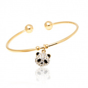 Peermont Jewellery 18k Goldplated Clear Crystal Panda Charm Bangle