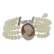 Sterling Silver White Freshwater Pearl and Agate Cameo 3-strand Bracelet
