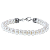 Pearls For You Sterling Silver White FW Button Pearl Bracelet