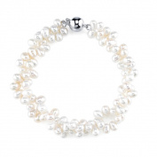 Radiance Pearl Sterling Silver Rice-shaped White Freshwater Pearl Bracelet