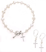 Sterling Essentials Sterling Silver 18cm Cultured Pearl Cross Earring and Bracelet Set