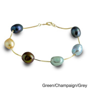 Pearls For You 14k Multi-colour Baroque Freshwater Pearl Station Bracelet