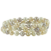 Pearls For You Sterling Silver Freshwater Pastel Pearl Coiled Bangle