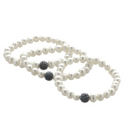 Pearls For You White Freshwater Pearl and Black Crystal Bead 3-piece 7-inch Stretch Bracelet Set