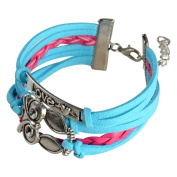 Zodaca Colourful Multistring Leather Bracelet with Silver/ Bronze Alloy Charms