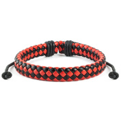 Red and Black Woven Leather Drawstring Bracelet