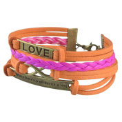 Zodaca Colourful Fashion Multistring Leather Bracelet Assessory With Silver/ Bronze Alloy Love Charms