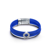 Rhodium-plated Sterling Silver Turquoise Blue Rubber Bracelet