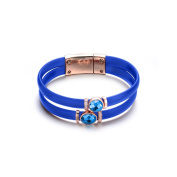 Rose-plated Sterling Silver Turquoise Blue Rubber Sky Blue Cubic Zirconia Bracelet